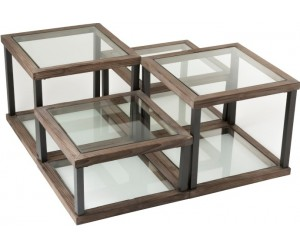 Set De 4 Table De Salon Bois/Verre Marron