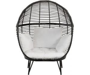 Chaise Lounge Ovale Acier Noir