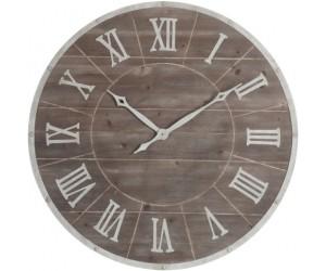 Horloge Ronde Chiffres Romains Metal/Mdf Marron/Blanc Large