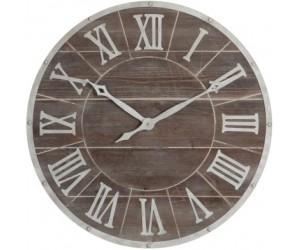 Horloge Ronde Chiffres Romains Metal/Mdf Marron/Blanc Medium