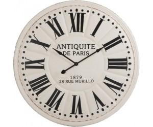 Horloge Antiquite De Paris Chiffres Romains Metal Blanc/Noir 113X7,5cm