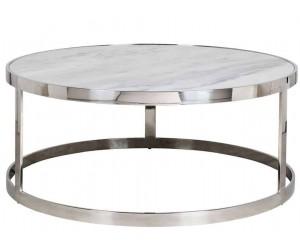 Table basse design avec marbre blanc rond 95Ø Levanto