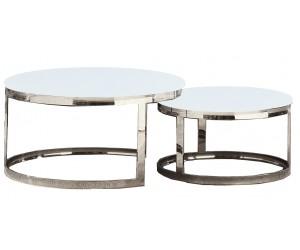 Set de 2 table basse design rond plateau avec marbre ou en verre au choix DANIELLO