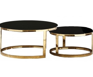 Set de 2 table basse design acier inoxydable gold rond plateau avec marbre ou en verre au choix DANIELLO