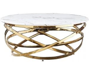 Table basse design acier inoxydable gold rond plateau avec marbre ou en verre au choix CALIMERA