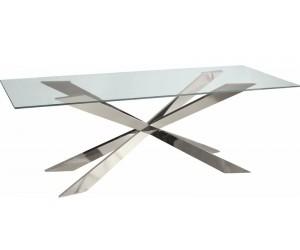 Table basse design acier inoxydable silver plateau avec marbre ou en verre ALVINA