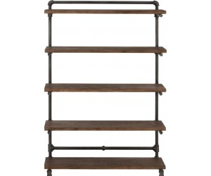 Etagere 5 Planches Tube Bois Naturel/Metal Gris