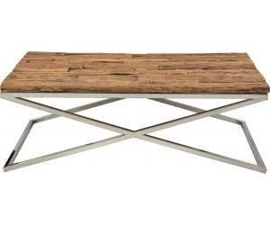 Table basse design acier inoxydable silver plateau marbre ou en verre au choix KEXIS