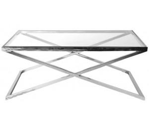 Table basse design carrée 130cm inoxydable silver plateau au choix KEXIS