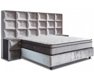 Lit box literie boxspring avec rangement complete silver VERONIQUE