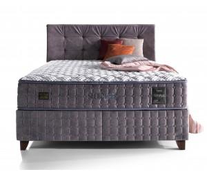 Lit box literie boxspring avec matelas et rangement complete en tissu gris Sleep PURE