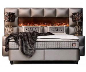 Boxspring incl. Fireplace avec rangement et matelas bronz KINGSTON