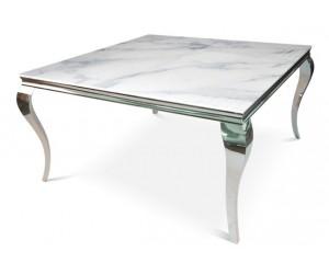 Table basse design acier inoxydable silver plateau avec marbre ou en verre POLO