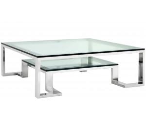 Table basse design acier inoxydable silver plateau en verre carre HARLEY