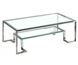 Table basse design acier inoxydable silver plateau en verre rectangulaire HARLEY