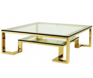 Table basse design acier inoxydable gold plateau en verre carre HARLEY