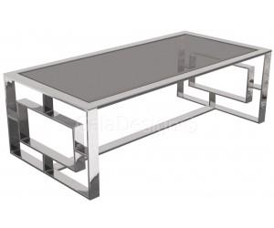 Table basse design acier inoxydable silver plateau en verre rectangulaire HUGOS