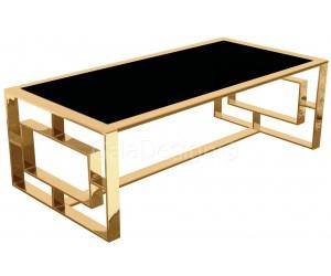 Table basse design acier inoxydable gold plateau en verre ou marbre rectangulaire HUGOS