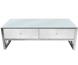 Table basse design avec 2 tiroirs acier inoxydable silver plateau en verre ou marbre rectangulaire ADOS