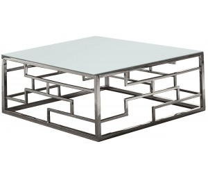 Table basse design acier inoxydable plateau avec marbre ou en verre carre BELLAGIO