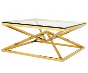 Table basse design acier inoxydable gold plateau en verre carre LUVITTON