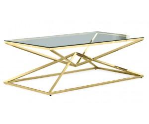 Table basse design acier inoxydable gold plateau en verre rectangulaire LUVITTON