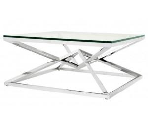 Table basse design acier inoxydable silver plateau en verre carre LUVITTON