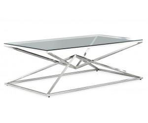 Table basse design acier inoxydable silver plateau en verre rectangulaire LUVITTON