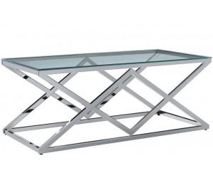 Table basse design acier inoxydable silver plateau en verre carre IDEA