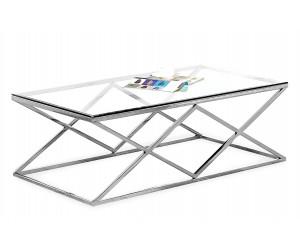 Table basse design acier inoxydable silver plateau en verre rectangulaire IDEA