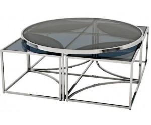 Set de table basse design 5 pices acier inoxydable silver rond Ø100 plateau en verre au choix PODAVI