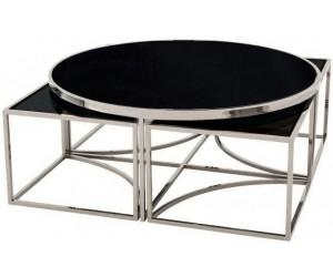 Set de table basse design 5 pieces acier inoxydable silver rond Ø100 plateau en verre au choix PODAVI