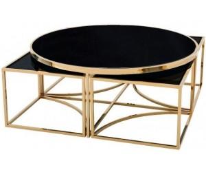 Set de table basse design 5 pieces acier inoxydable gold rond Ø100 plateau en verre au choix PODAVI