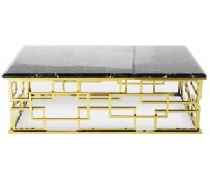 Table basse design acier inoxydable gold plateau avec marbre ou en verre rec. BELLAGIO