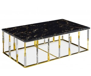 Table basse design acier inoxydable gold plateau avec marbre ou en verre rec. ROBERTO