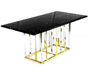 Table de salle à manger ultra design en acier inoxydable gold et plateau au choix ROBERTO