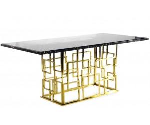 Table de salle à manger ultra design en acier inoxydable poli et plateau au choix BELLAGIO