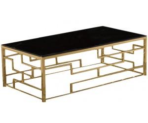 Table basse design acier inoxydable plateau avec marbre ou en verre BELLAGIO