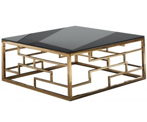 Table basse design acier inoxydable gold plateau avec marbre ou en verre carre BELLAGIO