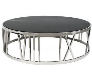 Table basse design acier inoxydable silver plateau avec marbre ou en verre rond EMELIA