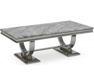 Table basse design acier inoxydable silver plateau avec marbre ou en verre GUCCI