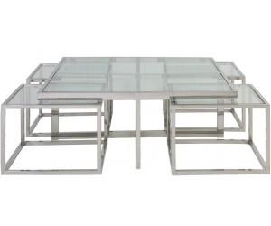 Set de table basse design 5 pieces acier inoxydable silver carre 100cm plateau en verre au choix CASA