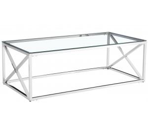 Table basse design acier inoxydable silver plateau en verre rec. ORLANDO