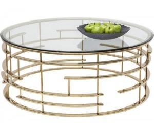 Table basse design acier inoxydable gold rond plateau avec marbre ou en verre au choix REFLUX
