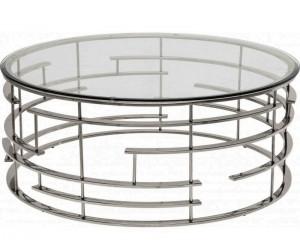 Table basse design acier inoxydable silver rond plateau avec marbre ou en verre au choix REFLUX