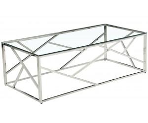Table basse design acier inoxydable silver plateau en verre rec. MEDISON