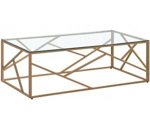 Table basse design acier inoxydable or rose plateau en verre rec. MEDISON