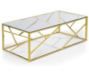 Table basse design acier inoxydable gold plateau en verre rec. MEDISON-3