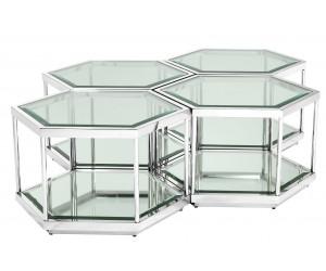 Table de salon set de 4 hexagone argentée avec 1 plateau vitre transparent! ASIMO