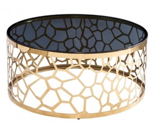Table basse design acier inoxydable gold rond plateau en verre SAVADORE
